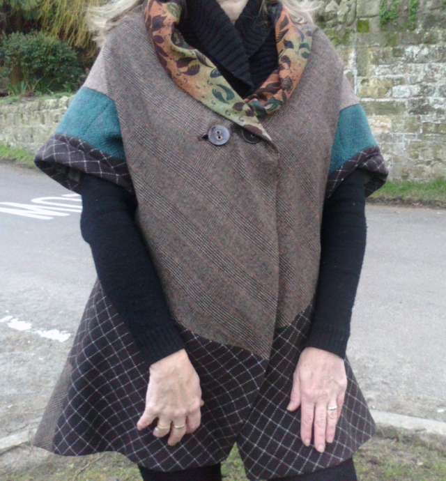 Jerkin-Dress Brown wool tweeds. Front lining as upper outer collar.