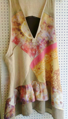 pinafore dress pink beige in window b