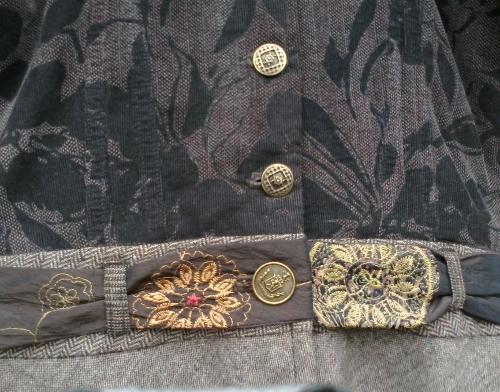 Brown jerkin dress, belt closeup 500