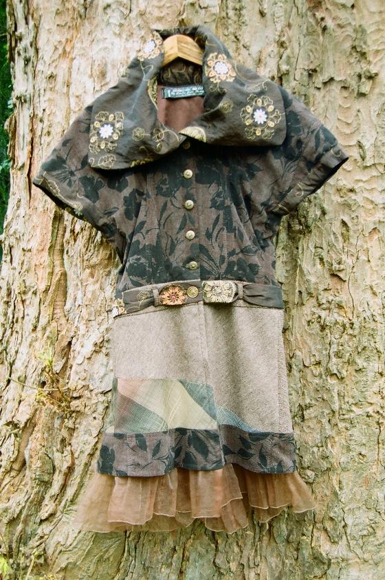 Brown jerkin dress, full, tree blog width