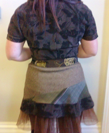 MODEL in Brown Jerkin Dress, back - Ethical fashion