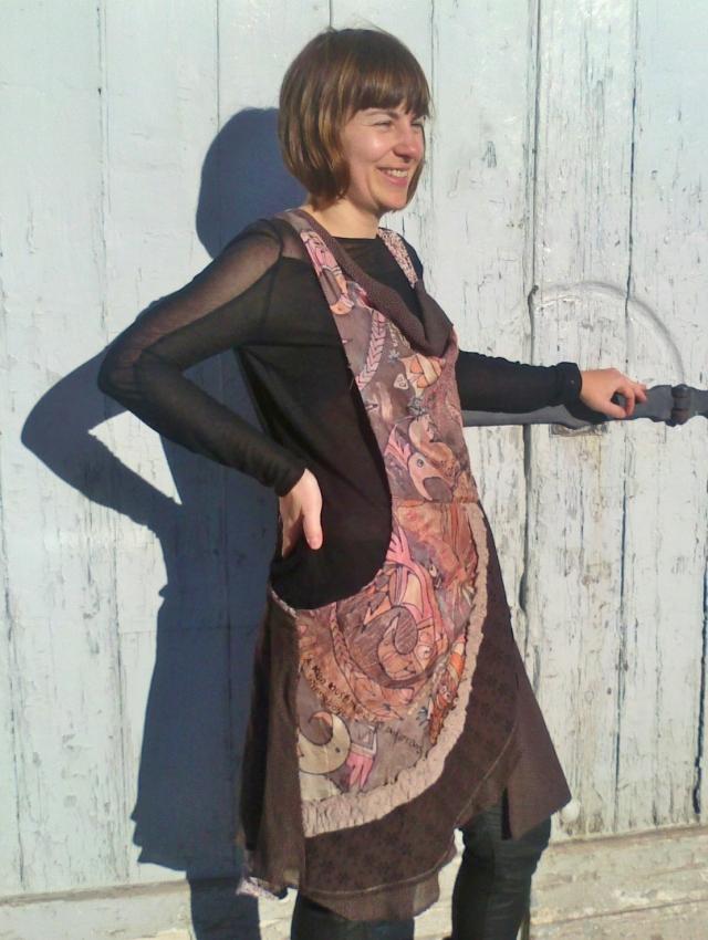 Brown Pinafore dress, pink, orange, and brown silk bib and apron.