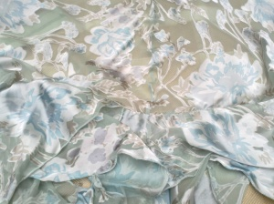 Devore printed skirt with shiny blue flowers on pale green voile base