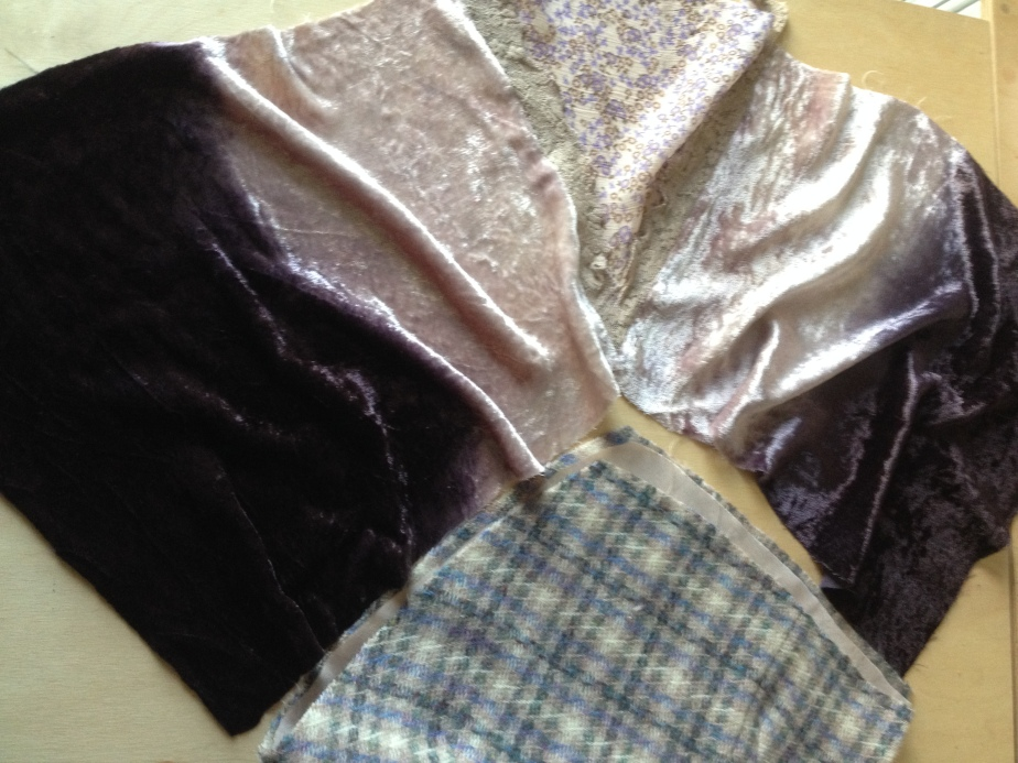 Front sections cut to allow gathers. inset joined to velvet.JPG