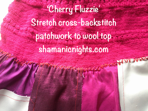hand-stretch-cross-back-stitching-skirt-patchwork-to-woolly-top-annotated