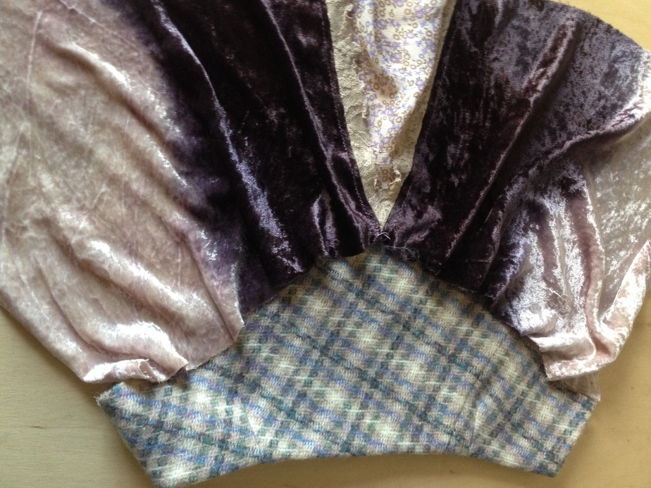 Position velvet to cummerbund, with equal fullness before pinning, right sides to right sides.JPG
