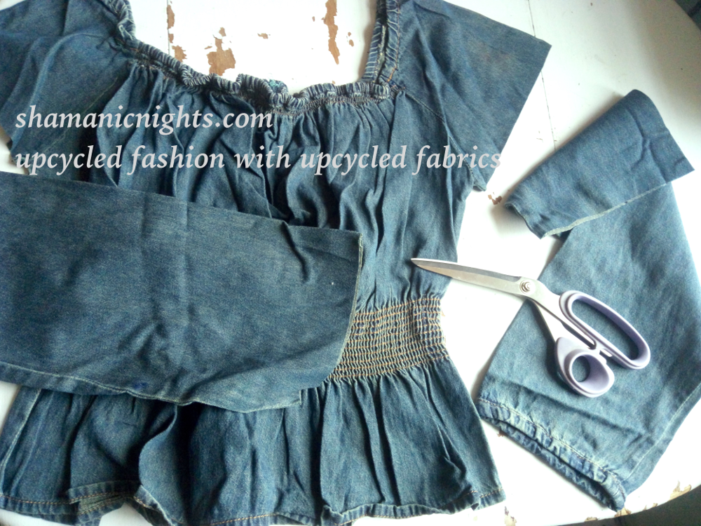 Upcycle B green dress, cut off denim blouse sleeves for hem addition - 001 - annotated, scale 1000