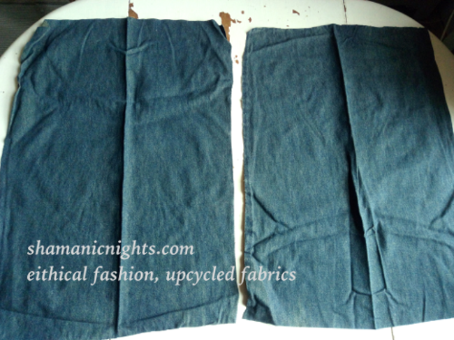 Upcycle E green dress, sleeves cut from denim blouse - 001 - annotated - scaled 650