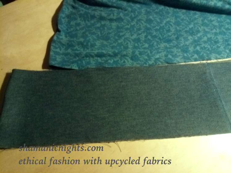 Upcycle H green dress, hem wider than T-shirt hem - 001- annotated scaled750