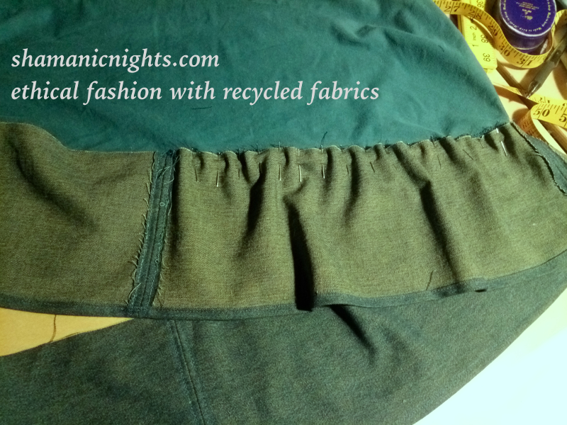 Upcycle K green dress inside pinned quarter of hem addition - 001 - annotated scaled800