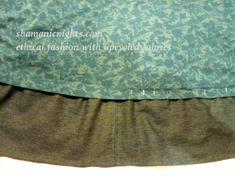 Upcycle KA green dress hem machined and part pinned - 001 - annotated - scaled800