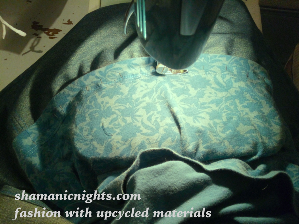 Upcycle L green dress machining hem extension over pins - 001 - scale 1000