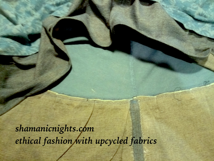 Upcycle M green dress inside hem machined, pressed - 001 - annotated scaled800