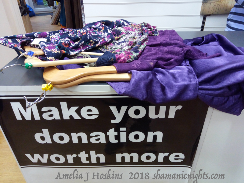 Charity shop fabrics, purples, hangers_2018-01-15_ 002 - annotated