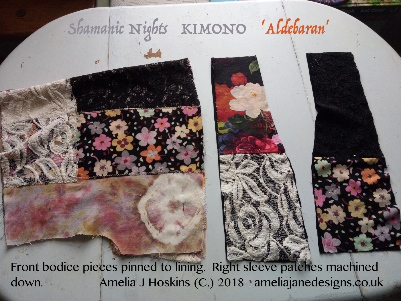 1.Front bodice pieces, pinned to lining one sleeve2018-04-07 - 002 - annotated 1400scale