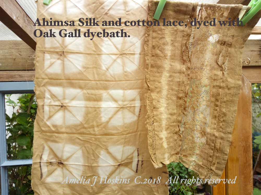 Fabric samples Oak gall dyeing, folded resist 2018-05 - 001 edited