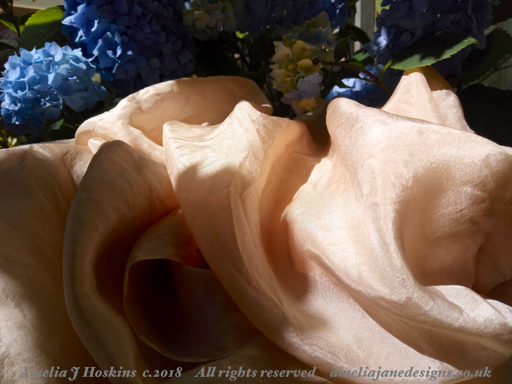 Habotai silk dyed in Avocado pits, Hydrangeas 2018-06-22 - 002 edited annotated