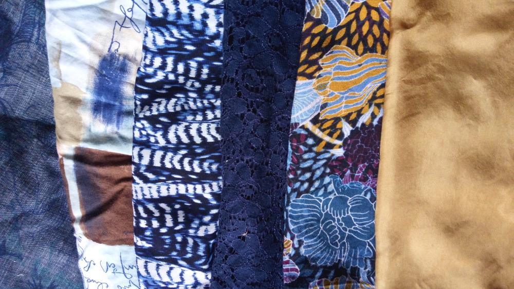 Charity fabrics, blues + Eucalyptus dyed gold - 002 - IMG_2018-09-11 17.41.16