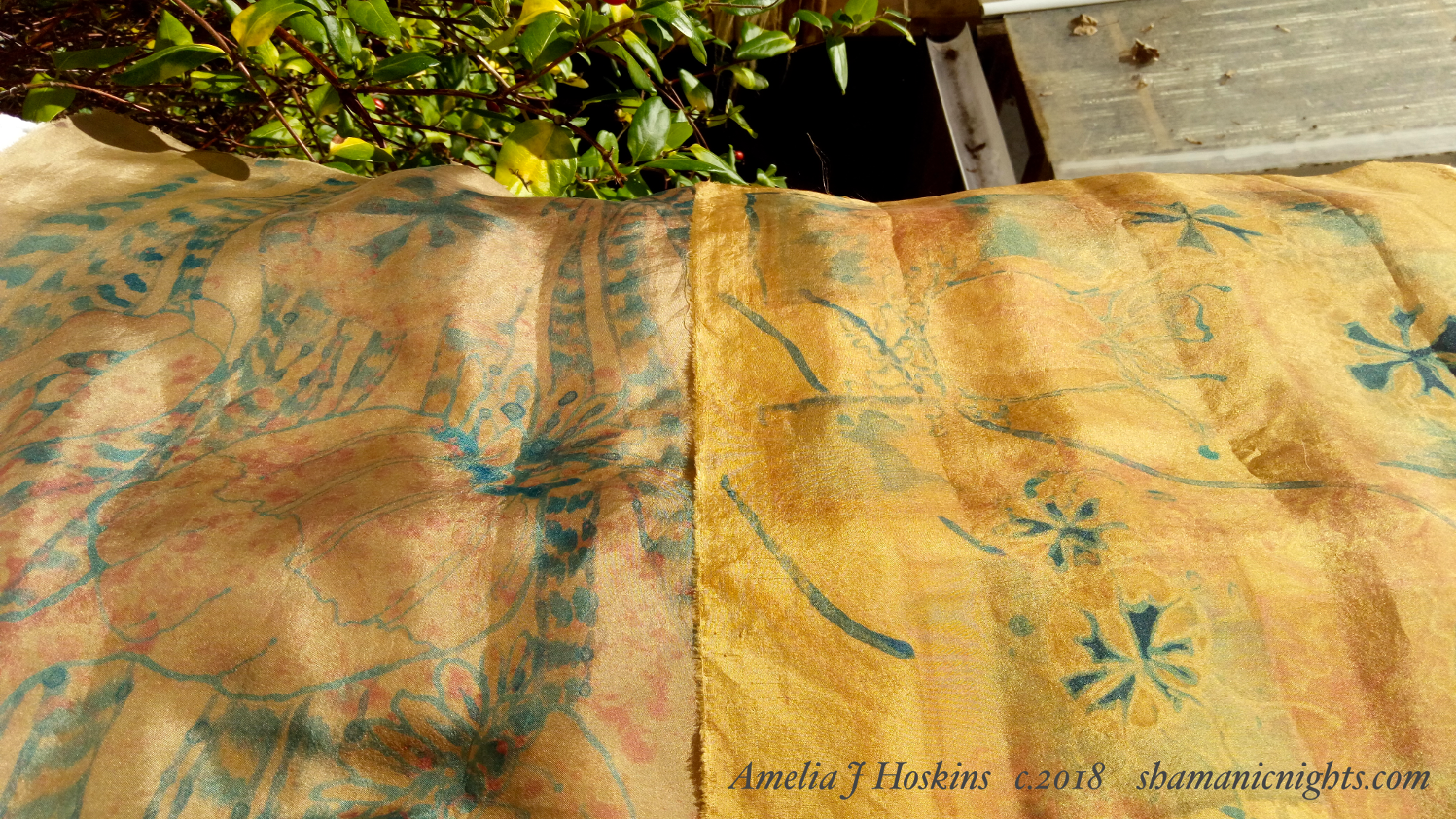 Eucalyptus dyed silk, two tones sheen, with painting stage one 2018-10-20 13.22.31 - 002 - edited annotated